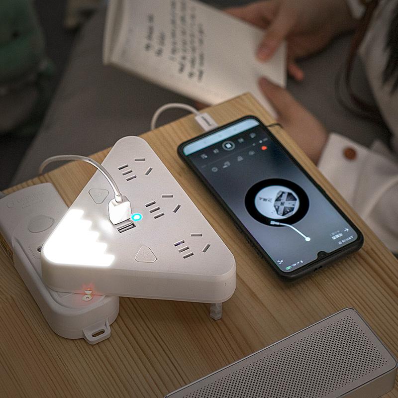 吉顺创意家用插座转换器插头带夜灯USB插板一转多无线插排多功能