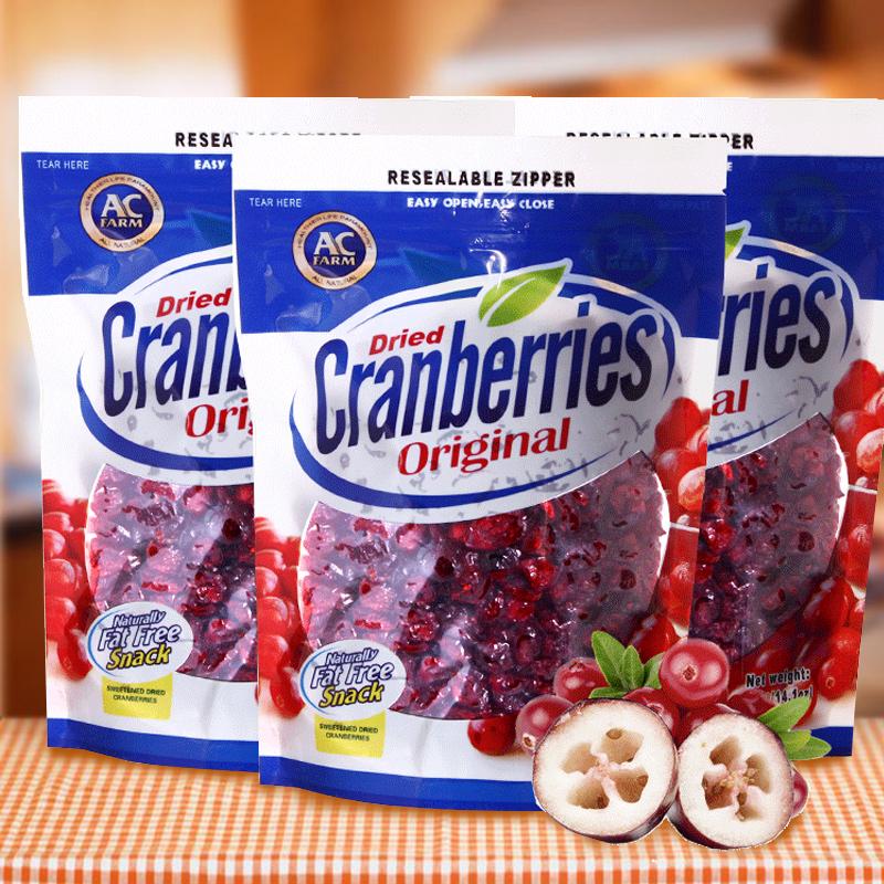 三袋美国进口果干美加农场蔓越莓干400g曲奇饼干蛋糕面板烘焙原料