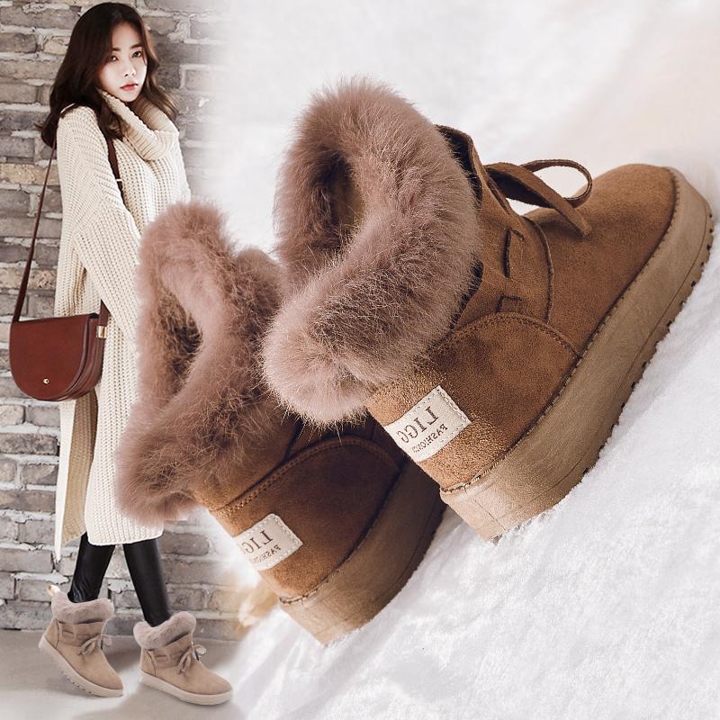 雪地靴女2018新款短筒学生女鞋冬季一脚蹬棉鞋加绒鞋子加厚短靴子