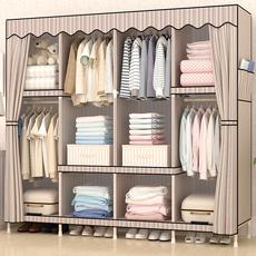 简易布衣柜布艺组装实木衣橱收纳折叠简约现代经济型双人组合柜子