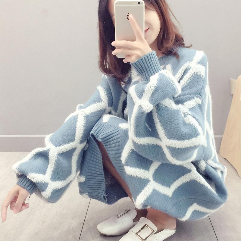 秋冬季韩版中长款过膝网红套头女毛衣裙子宽松加厚格子针织连衣裙