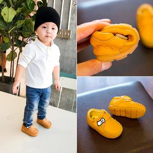 春秋季儿童鞋子1-3岁女宝宝鞋男2小童棉鞋婴儿皮鞋软底防滑学步鞋