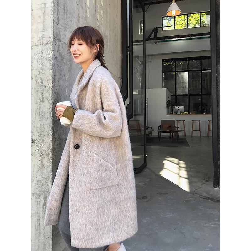 【阿一】 2018秋冬气质羊毛西装领大衣女 茧型中长款呢外套
