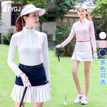 Spring and summer golf clothes women's fast drying long sleeve sun protection ball clothes T-shirt anti walk shorts skirt set