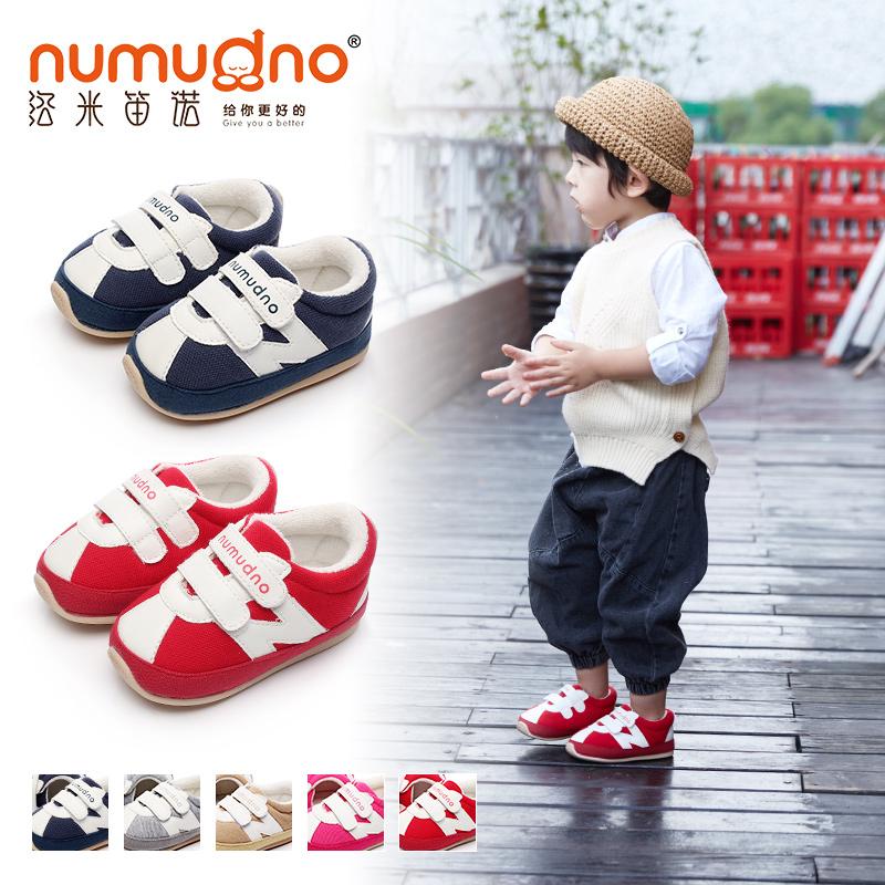 洛米笛诺婴儿学步鞋0-1-2岁软底防滑宝宝鞋子春秋棉布单鞋男女童