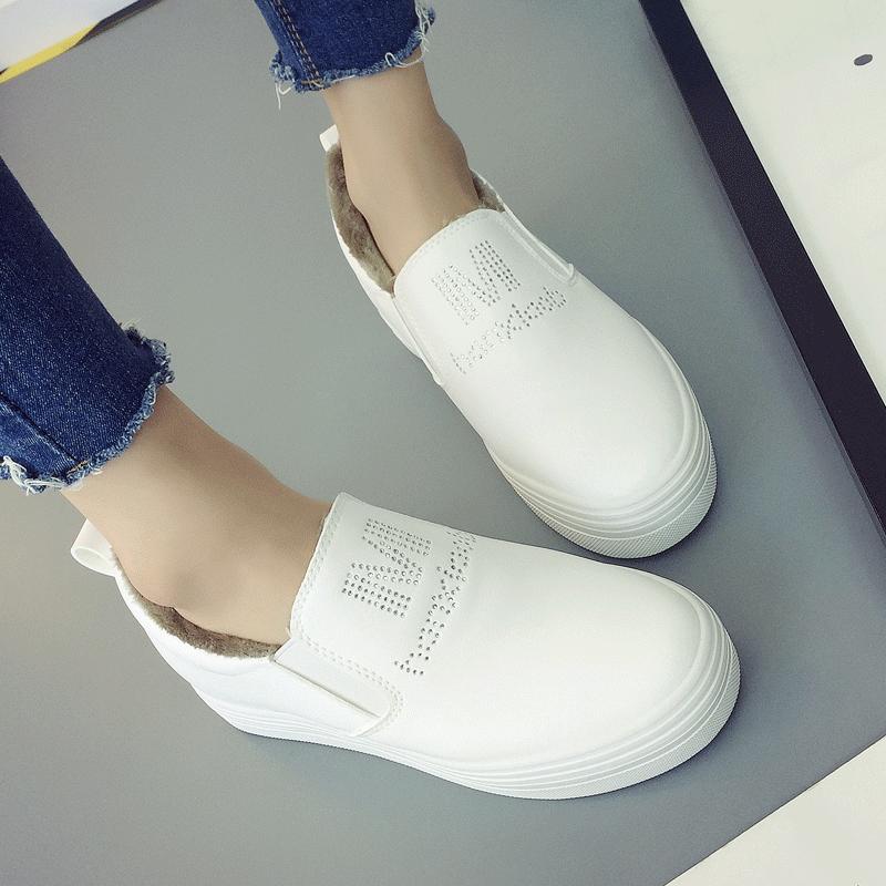 厚底鼕季小白鞋女鞋百搭真皮內增高保暖加棉一腳蹬休閑樂福鞋子女