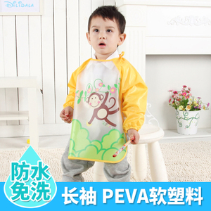 Children's blouse drawing clothes plastic waterproof boy and girl anti-wear baby apron baby eating bib smock