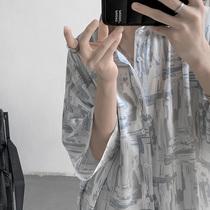 夏季短袖衬衫男潮流日系宽松满印半袖衬衣服网红痞帅港风潮牌外套