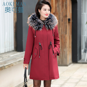 Middle-aged and elderly women's cotton clothing in the long section to overcome the middle-aged mother's cotton coat winter thick loose jacket 2019 new