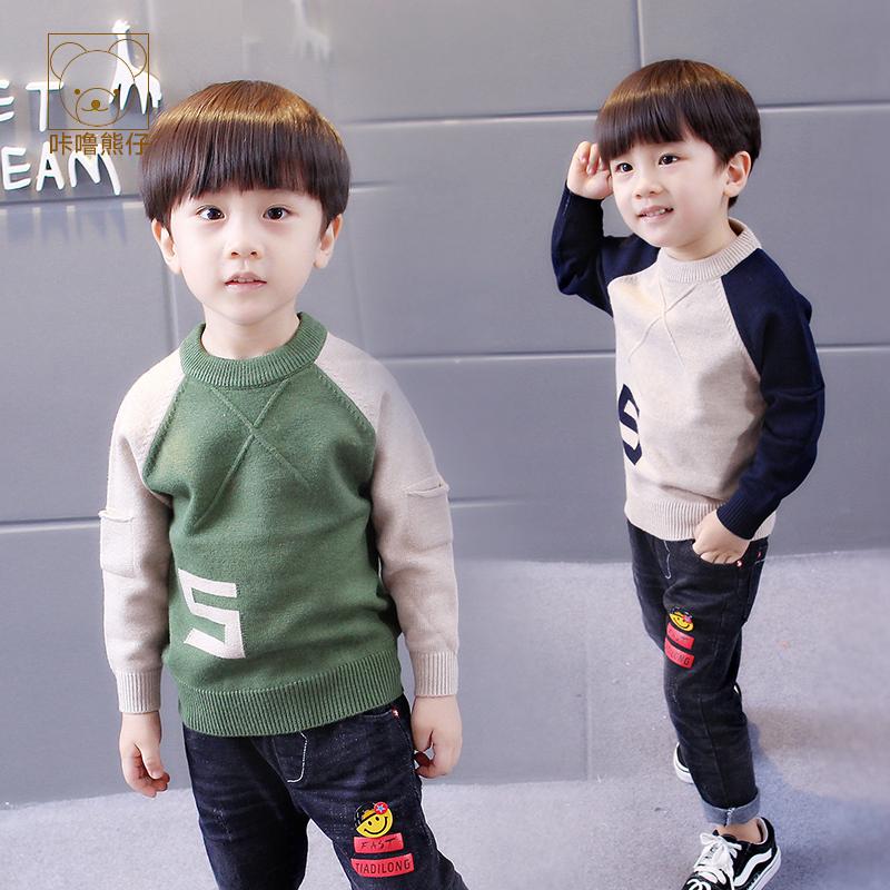 男童毛衣套头 秋冬款长袖韩版2-3-4-5-6周岁中小儿童男宝宝针织衫