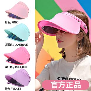 遮阳帽女夏户外遮脸防晒帽防紫外线韩版百搭骑车大沿空顶太阳帽子