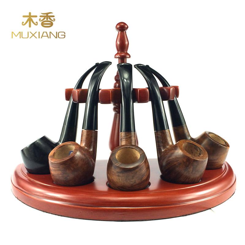 木香 烟斗配件用五位实木制立式烟斗架 半圆型罗马式5斗座架子