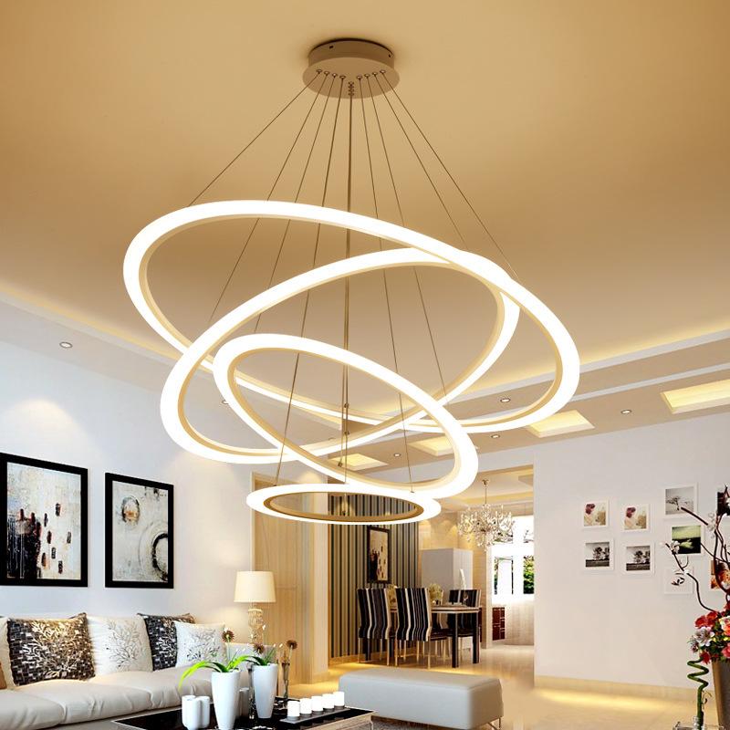 网红简约客厅后现代led办公室吊灯创意艺术圆环形灯个性餐厅吊灯-天天淘灯饰