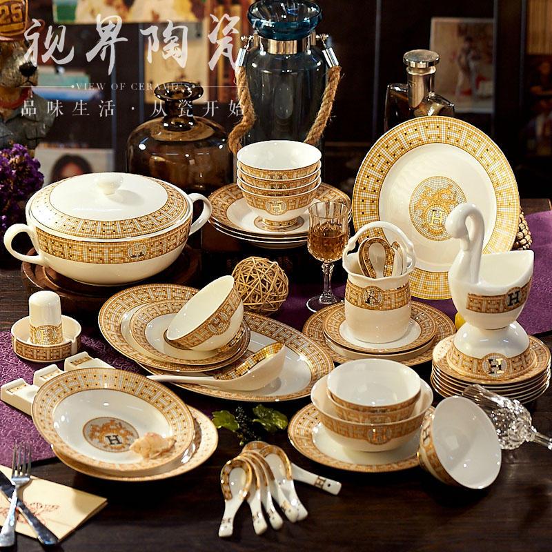 北欧陶瓷器碗碟套装欧式家用套碗盘碟餐具景德镇高档骨瓷餐具套装