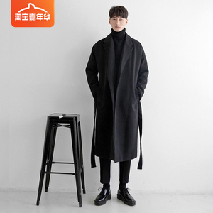 Woolen coat trench coat men's long section handsome over the knee Japanese woolen coat winter thick autumn and winter mid-length men's clothing