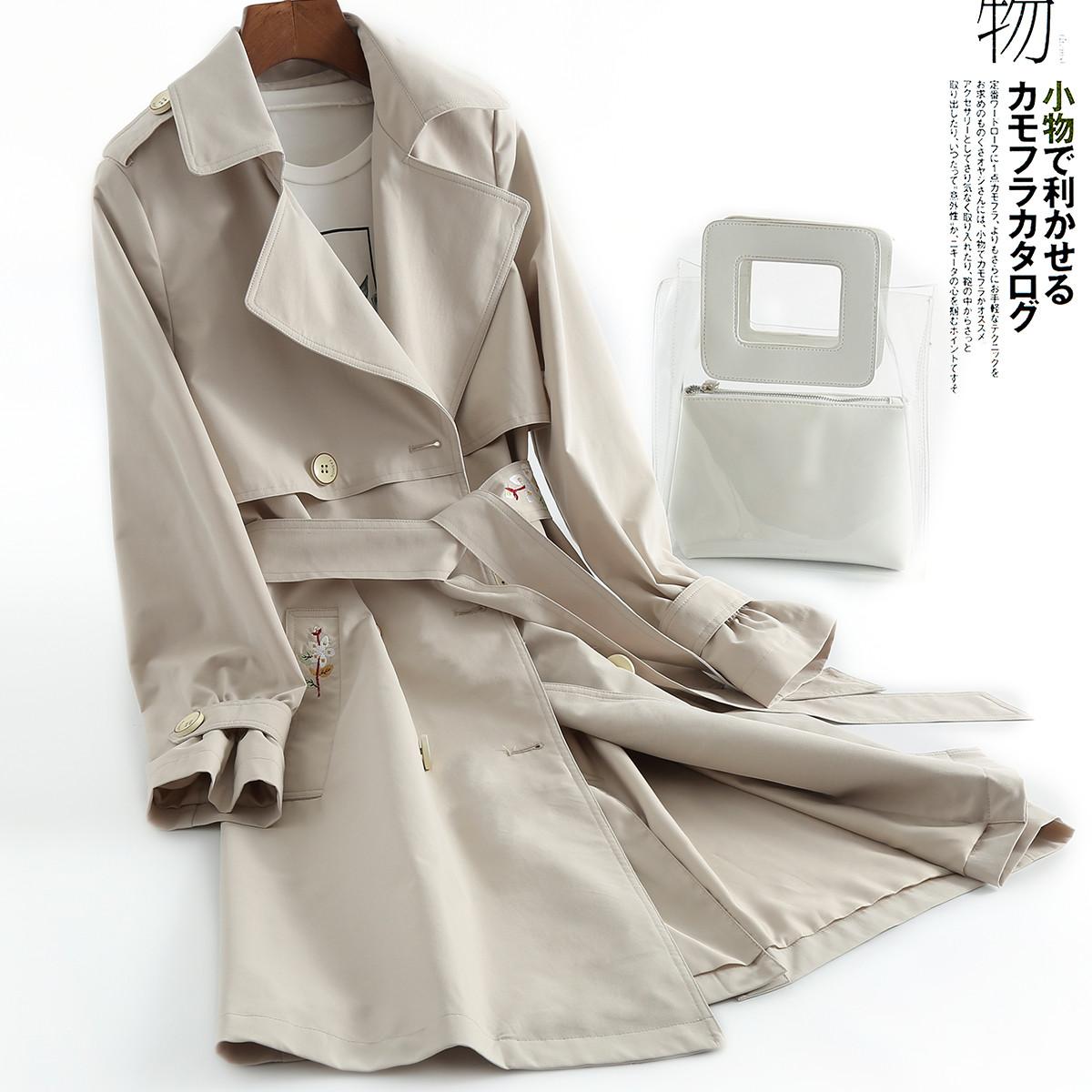 刺绣 风衣 春装 新款 修身 时尚 系带 外套