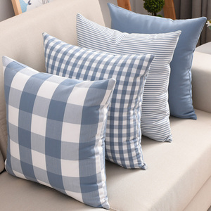 Nordic Plaid Cushion Cover Living Room Sofa Cushion Cover Bedside Backrest Cover Office Cushion Without Core Cushion