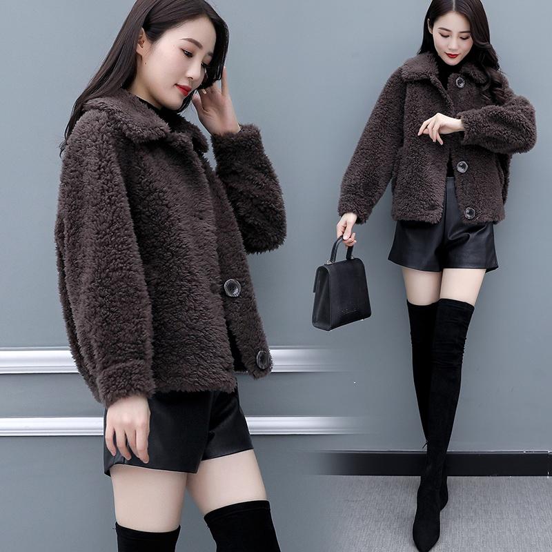 海宁皮草羊剪绒外套女短款2019新款加厚显瘦皮毛一体羊羔毛大衣冬