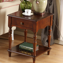 美式实木沙du2边几边桌ao电话桌(小)方桌咖啡桌角柜正方形方几