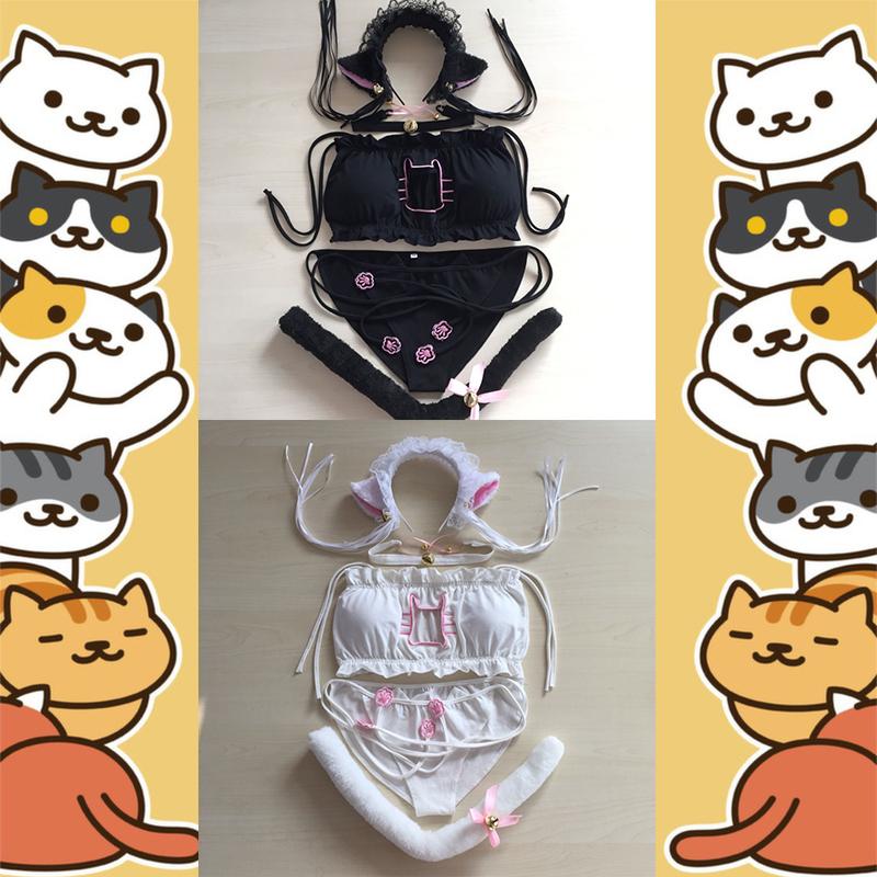 猫咪后院内衣日系开胸套装猫咪内衣性感COS情趣lovelive抹胸包邮