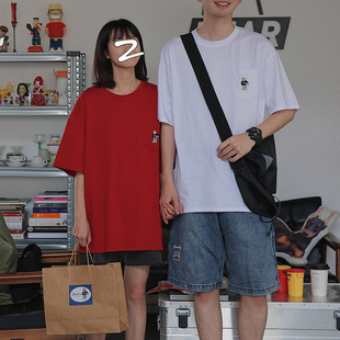 衫岛口袋刺绣小熊短袖t恤男女夏装百搭韩版宽松情侣装ins潮图片