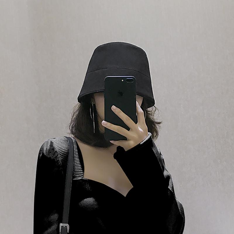 日系水桶帽渔夫帽子女秋冬韩版潮百搭复古时尚钟型黑色显脸小盆帽