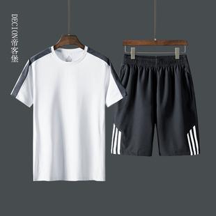 冰丝短袖t恤男士爷爷中老年人男装爸爸夏装套装中年夏天时尚衣服图片