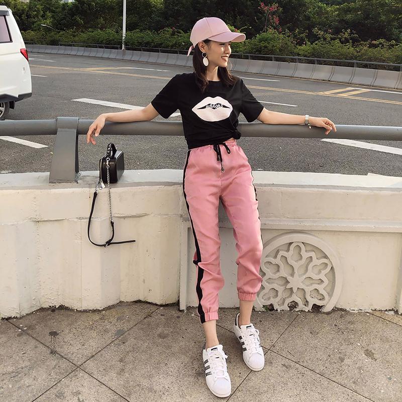 休闲运动套装女2018新款夏季网红宽松时尚韩版社会港味学生两件套