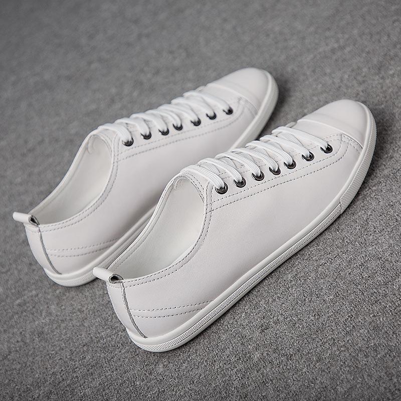 男鞋夏季百搭皮鞋小白鞋韩版真皮潮鞋白色鞋子透气休闲鞋男士板鞋