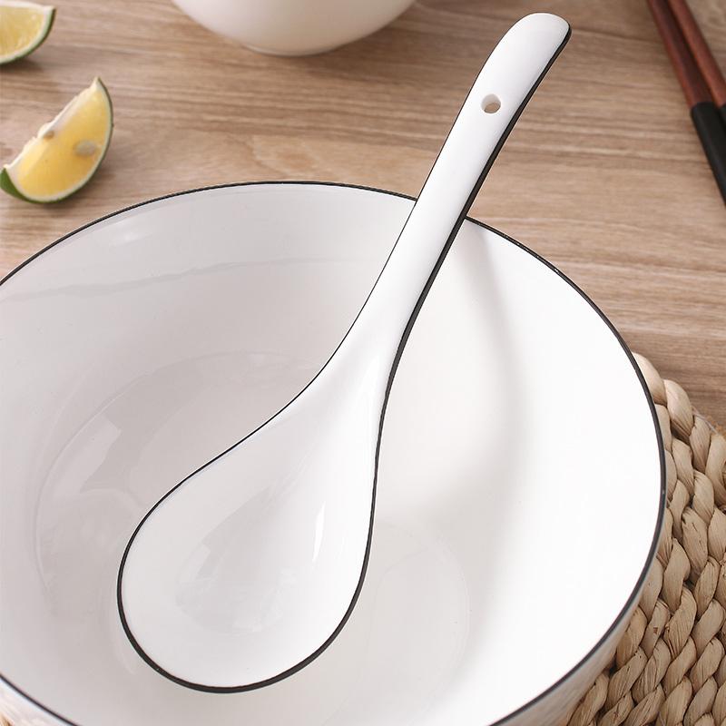 日式汤勺大号盛汤家用调羹陶瓷加厚大勺子北欧风网红创意长柄汤匙