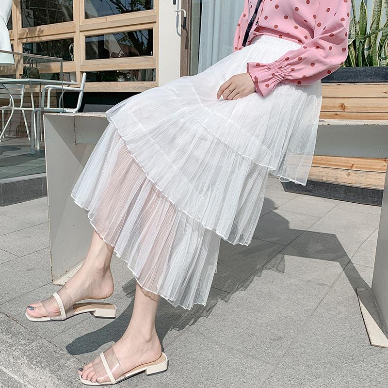 新款高腰a字中长款半身仙女裙