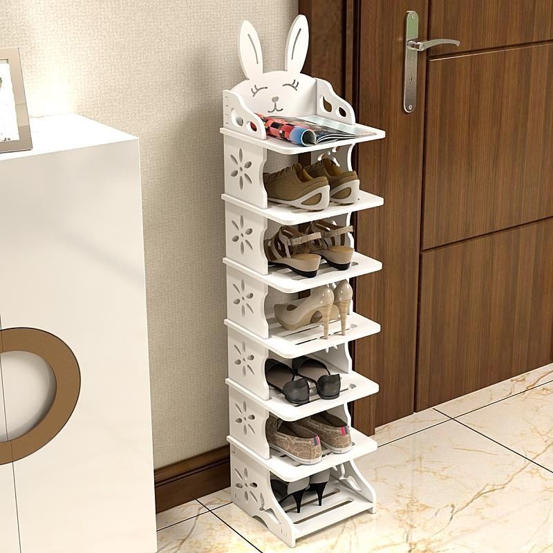 可叠高家用门口立式单排小鞋架简易经济型省空间夹缝鞋柜儿童鞋架