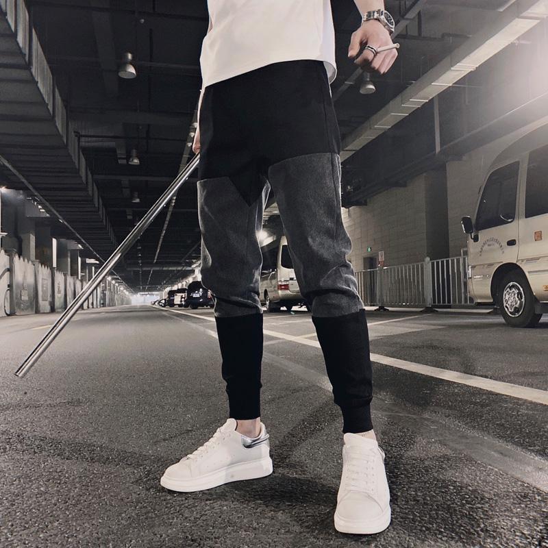 2020春夏装韩版韩版修身束脚裤男网红款撞色拼接九分裤潮流运动裤