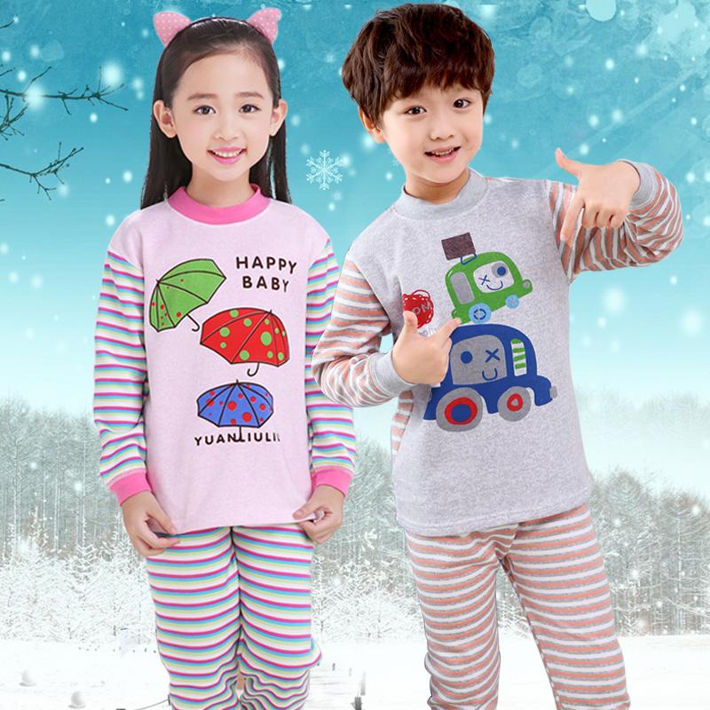 儿童保暖内衣套装秋冬加绒加厚男童条纹居家服女童棉毛衫中小童装