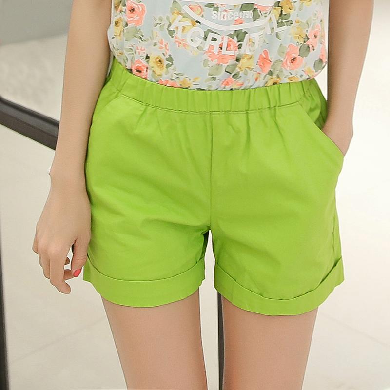 纯棉短裤果绿色