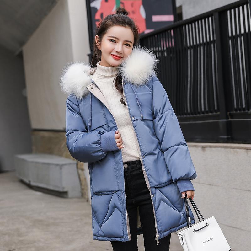 小懒猫正品棉服女中长款韩版羽绒棉衣宽松加厚大毛领冬装外套棉袄