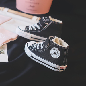 Children's cotton shoes boys canvas shoes plus velvet thickening 2019 winter new baby cotton shoes warm girls winter shoes