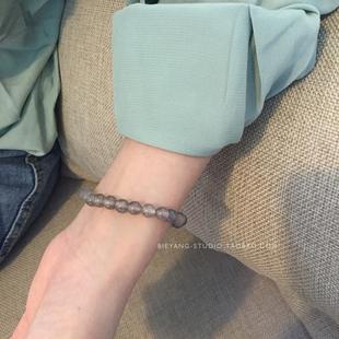 别样天然灰玛瑙手链不掉色天然石百搭简约ins冷淡风时尚手链女图片