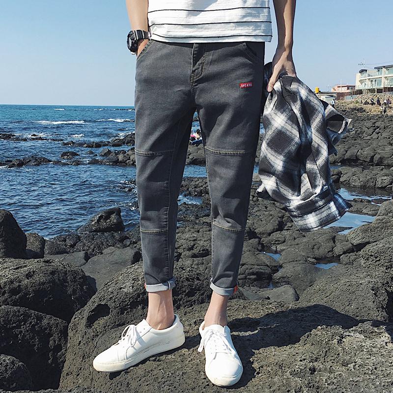 男士牛仔裤子秋季新款2017破洞九分裤青少年修身韩版潮流小脚裤男