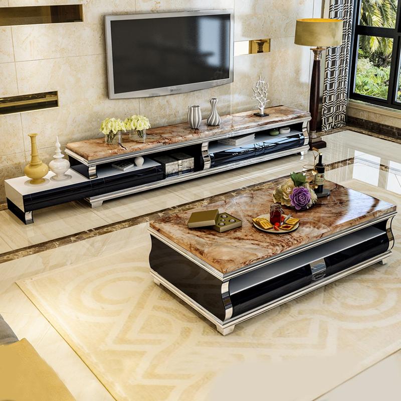 现代简约客厅大理石茶几电视柜组合套装整装北欧长方形小户型茶桌
