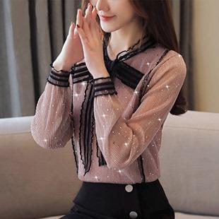 2019春季新款雪纺衫女韩版时尚百搭蝴蝶结蕾丝打底衫女装长袖上衣