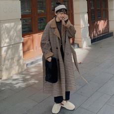 大衣女中长款2019流行韩版宽松过膝呢子衣复古做旧风格子毛呢外套