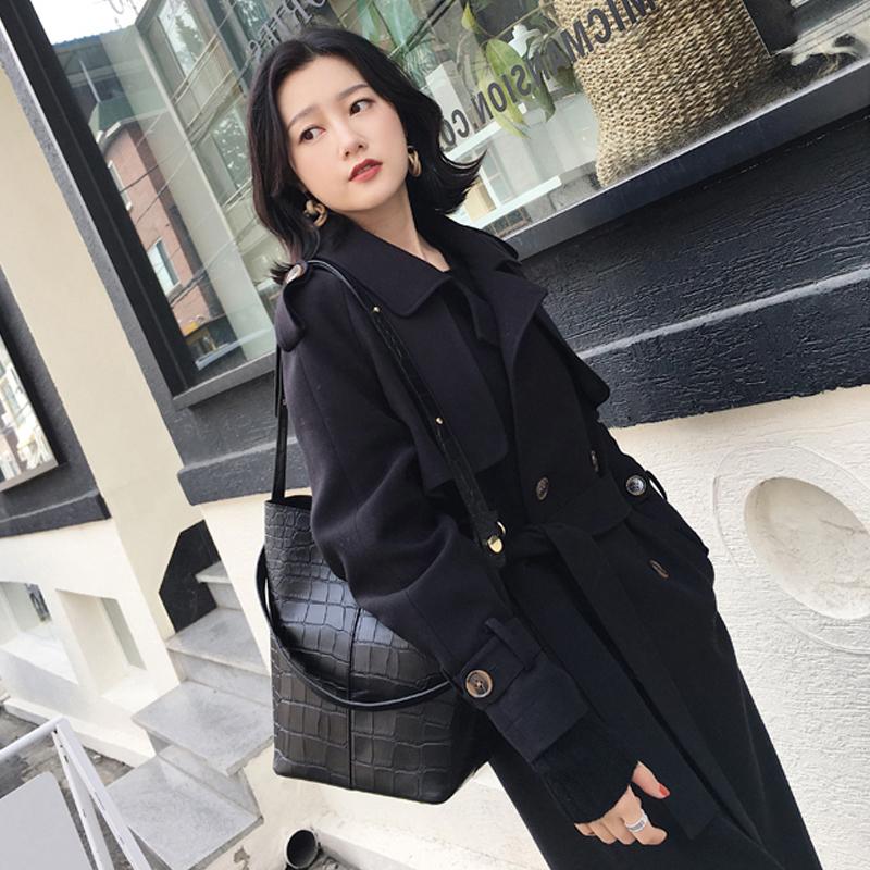 黑色风衣女2019春秋新款中长款双排扣过膝chic港风外套系带韩国潮