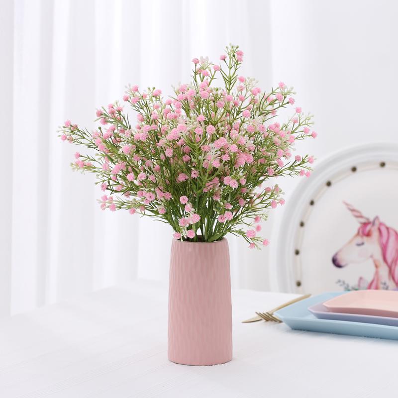 小清新满天星仿真花客厅假花装饰摆件摆设花瓶套装塑料花花束干花