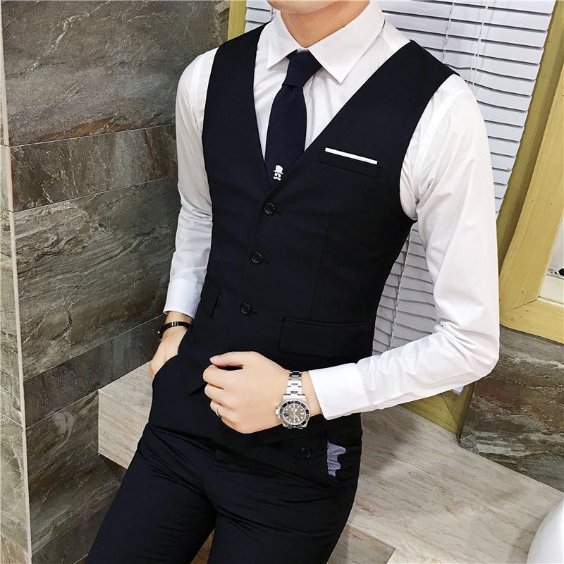 韩版男装西服马甲男无袖男士西装马夹坎肩背心商务休闲职业正装潮