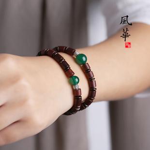 复古文艺印度小叶紫檀手串男绿玛瑙木质手链女木珠紫檀木檀香开光图片