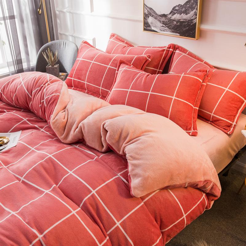 冬季珊瑚绒四件套双面床上加绒床单加厚法兰绒宿舍三件套网红被套-安娜贝妮梦家纺旗舰店