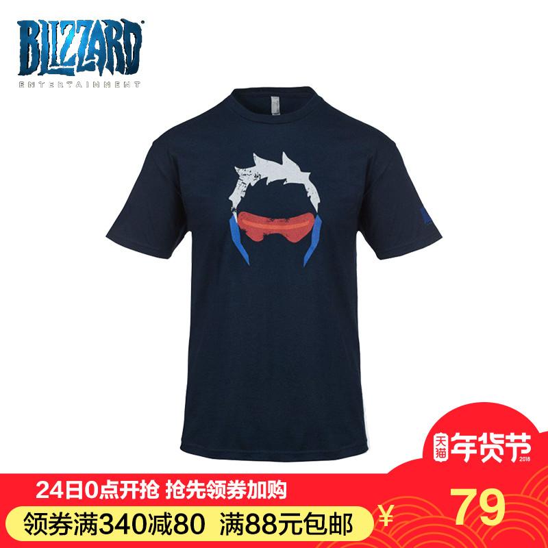 守望先锋T恤周边 士兵76t恤 深蓝色圆领男士印花T恤
