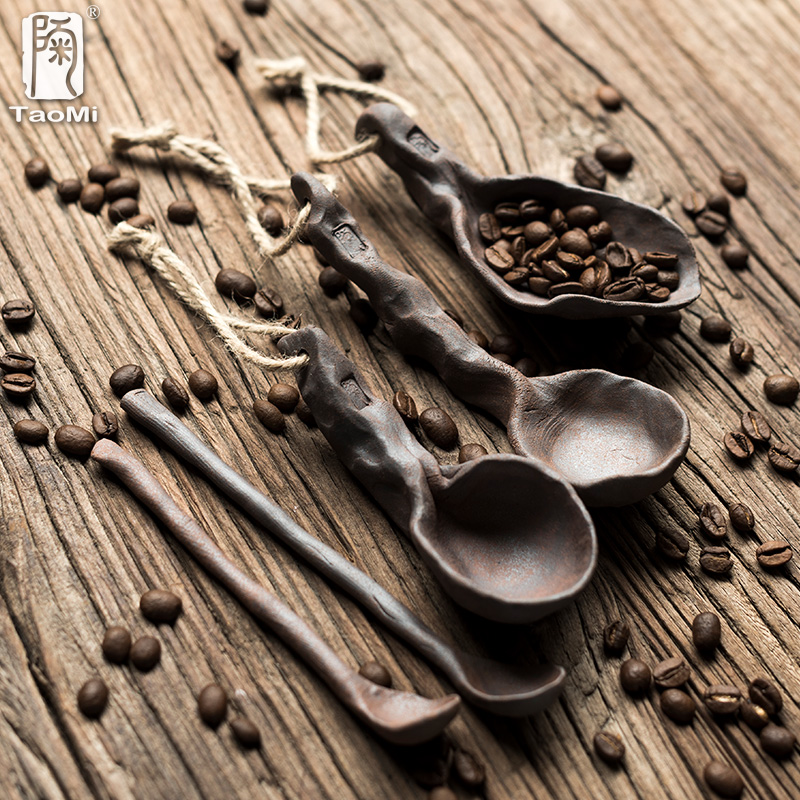 陶迷纯手工捏制咖啡勺创意陶瓷小汤勺调羹粗陶家用大长柄勺搅拌勺