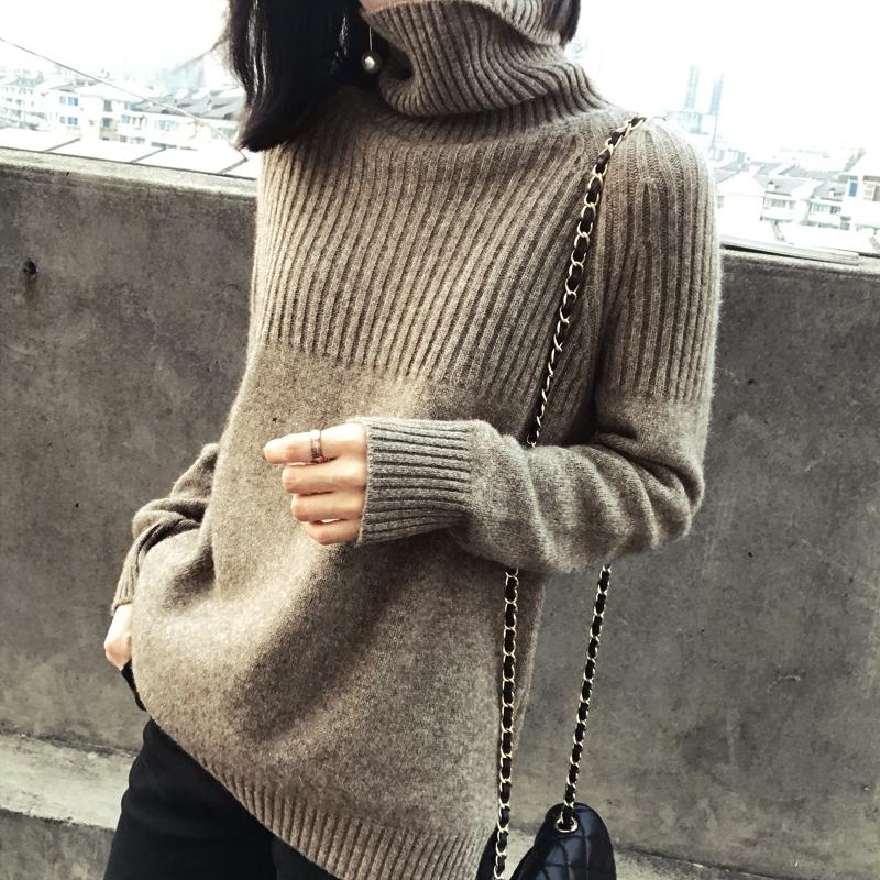 【爆款返场】2019秋冬新款高领加厚毛衣女套头宽松慵懒针织衫